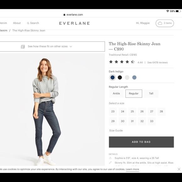 Everlane High Rise Indigo Skinny Jean size 32